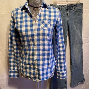 🤍Amer Eagle Outfitters💙 Blue/White Gingham Shirt